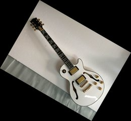 Wholesale Electric Guitar Hollow Body White - 2014 New custom shop jazz Electric Guitar ebony board with tree of life inlay white 140910