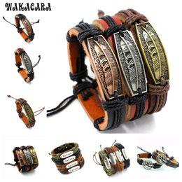 Wholesale Agate Bead Bracelets - WAKACARA 4styles 12colors Braided Adjustable Leather Bracelet Cuff Women Men`s Casual Charm Jewelry Bracelet