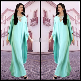 Wholesale Mint Dresses For Maternity - Dubai Kaftans Abaya Jalabiya Ladies Maxi Dress 2015 Vestido De Festa Mint Beaded Evening Arabic Dresses For Party Gowns Dubai Abaya gowns