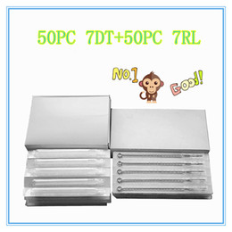 Wholesale Disposable Tattoo Tip 7rl - Wholesale-7DT+7RL 50PCS white long Disposable Tattoo tips + 50 PCS Disposable Sterile Tattoo Needle Free shipping tattoo needle product