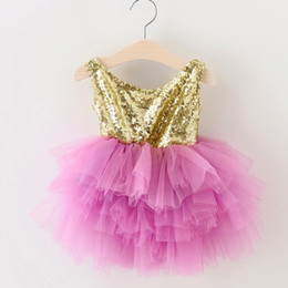 Wholesale Sequin Kids Tank Top - Children Baby Sweet Girls Lace Tutu Dresses Sequin Tank Top Big Bow Dresses Kids Infant Toddler Princess Party Dress Summer Clothes HB16-A02