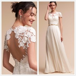 Wholesale Gold Bridal Sash - 2018 Sheer Short Sleeves Lace Wedding Dresses Tulle Hollow Back Beaded Sash Floor Length Summer Beach Bohemian Outdoor Wedding Bridal Gown