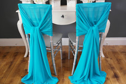 Wholesale Turquoise Wedding Chair Covers - New Arrvail ! 40pcs Turquoise Chair Sashes for Wedding Event &Party Decoration Chair Sash Wedding Ideas Chiffon
