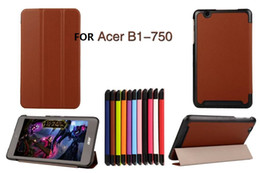 Wholesale Acer Tablet Pc Cover - Ultra Slim Magnetic Custer 3 Fold Fodling Folio Stand Leather Case cover For Acer Iconia One 7 B1-750 Tablet PC 1pcs lot
