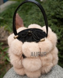Wholesale Black Fur Handbags - Nice Real Rabbit Fur Bag For Girls String Bucket Style Solid Colour Women Bag Real Fur Ladies Handbags PU Leather Strap AU00283