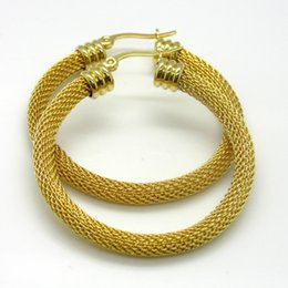 Wholesale Twisted Gold Plated Hoop Earrings - New Arrival Fashion Style 30mm 40mm 50mm Gold Plated Stainless steel Twist Wire mesh Round Hoop Earrings Best Gift For Women