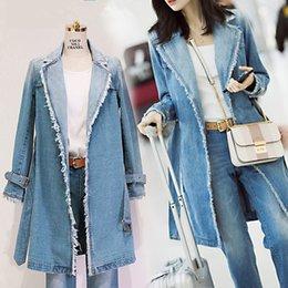 Wholesale Wash Cotton Puff - 2017 women clothing long sleeve raw edge belt slim washed denim trench coat Female elegant fashion long jeans outerwear D1757