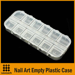 Wholesale Plastic Divided - Wholesale - Clear Plastic Nail Art Rhinestone Gems Crystal Beads Craft 12 Divided Storage Case Box Container Free Shipping