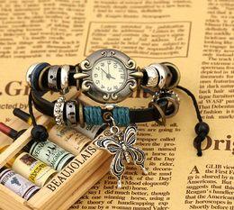 Wholesale Cow Leather Wrap Watch - Antique Watch Fashion Wrap Winding Vintage Watch Cow leather Bracelet Watches Ladies Women Wristwatches 9 designs