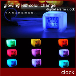 Wholesale Digital Table Design - 7 Color Changing Digital Alarm Clock Design Eletronic Fashion New Brand Table Clock Night Colorful Changing Toy 50pcs up Freeship