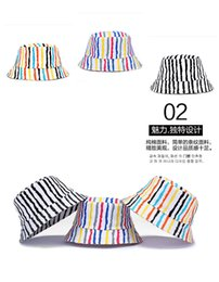 Wholesale Male Bucket Hats - Wholesale-Ms fashionable new products male couples fisherman hat outdoor beach Bob bucket hat sunscreen striped hat