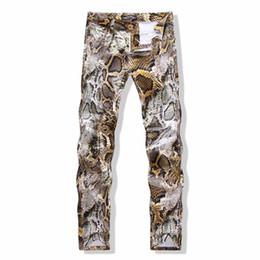 Wholesale European Harem Jeans - Hot Sales Snakeskin printed jeans for men hip hop 3D Plus size Biker Jeans fashion design brand Skinny denim trousers casual harem pants