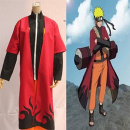 Wholesale Coat Capes - Hot sale!!! Anime Naruto Shippuden Cosplay Costume Uzumaki Unisex Sage Red Cloak Cape long Robe Dust Coat Size S M L XL XXL