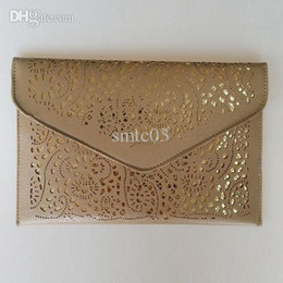 Wholesale Neon Cutout Envelope Bag - Wholesale-2015 Hot New Hollow chains envelope bag neon color cutout bag pu candy color day clutch women's messenger bags Fast Shipping