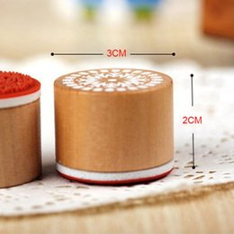 Wholesale Stamping Scrapbook - Wholesale-6pcs SET Assorted Retro Vintage Floral Flower Pattern Round Wooden Rubber Stamp Scrapbook DIY Free Shipping
