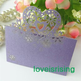 Wholesale Violet Name - High Quality--50pcs Lavender Color Laser Cut Place Cards Wedding Name Cards For Wedding Party Table Decoration--Factory Directly Sell