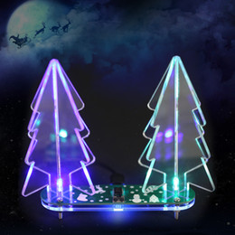 Wholesale Led Color Change Module - DIY Acrylic 3D Christmas Tree kit Full Color Changing LED Light Electronic Learning Kit Module