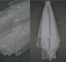 Wholesale Diamond Bead Ivory Wedding Veils - 2017 Short Two Layers beaded Diamond white or ivory Wedding Veil Bridal Accessories With Comb voile mariage