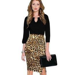 Wholesale Zebra Pencil - 2017 New Fashion Women Elegant Leopard Zebra High Waisted Zipper Side Slit Wear to Work Business Casual Stretch Bodycon Pencil Skirt
