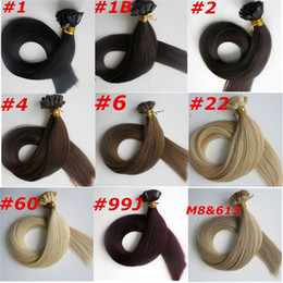 Wholesale Extensions Bonds - 100g 100Strands Pre-bonded Flat tip hair extension 18 20 22 24inch Braziian Indian human hair extensions