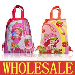 Wholesale Strawberry Backpacks - 12Pcs Strawberry Shortcake Kids Girls Children Cartoon Drawstring Backpack School Bags Party Gift Bags,34*27CM,Mixed 2 Models