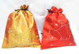 Wholesale Satin Drawstring Large - Satin Embroidered Candy Bags Extra Large Drawstring Decorative Gift Pouches Christmas Birthday Wedding Party 10pcs lot mix color