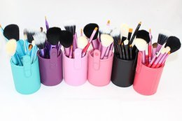 Wholesale Professional Makeup Brushes Set Pink - Wholesale-12 Pcs Woman Beauty Makeup brush Set Cosmetic Brushes Professional Pincel Maquiagem Make Up Tools+Cup holder