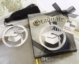 Wholesale Graduation Tassels Wholesale - graduate party faovr gifts for guest--graduation cap bookmark with Elegant black tassel party souvenirs 20pcs lot 052929