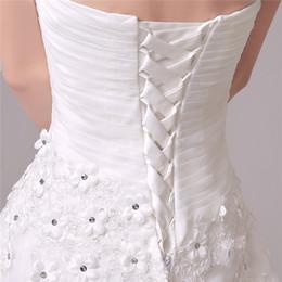 Wholesale Sweetheart Silk Chiffon Wedding Dress - 2015 Brilliant Mermaid Wedding Dresses Luxury Custom made Sweetheart Backless Court train Beads Crystals Organza Bridal gowns Pleats