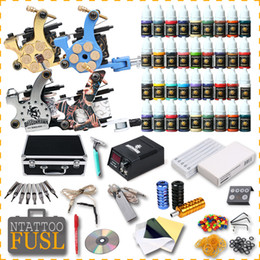 Wholesale usa tattoo ink - Tattoo Kit 4 Machine Gun 56 Color Ink Power Supply 50 Needles Complete