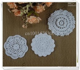 Wholesale Blue Doilies - Free Shipping Wholesale Round Crochet pattern Doily hand made Crochet cup mat White, blue, yellow 9-12CM 150pcs LOT aa3h30
