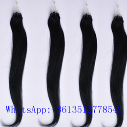 Wholesale 1b Micro Loops - 20inch 1b# Loop Micro Ring Hair Extensions 100g 100pcs lot 1g pc Straight Indian Human Hair Extensions 100% Human Hair Extensions