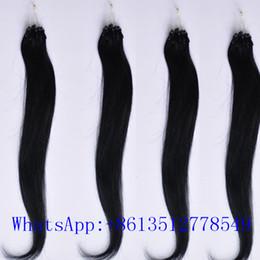Wholesale Micro Loop Brazilian 1b - 20inch 1b# Loop Micro Ring Hair Extensions 100g 100pcs lot 1g pc Straight Indian Human Hair Extensions 100% Human Hair Extensions