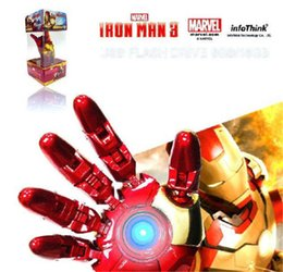 Wholesale Iron Man Flash Drive 256gb - 2015 AVENGERS LED IRON MAN 3 Hand Model 256gb USB 2.0 flash Memory Pen Drive Stick Retail Packaging free shipping