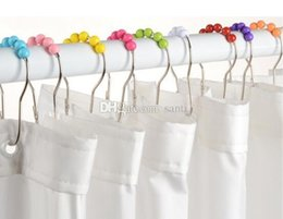 Wholesale Acryl Colors - Fashion Hot Colors ACRYL Polished Satin Nickel 5 Roller ball Shower Curtain Rings Curtain Hooks
