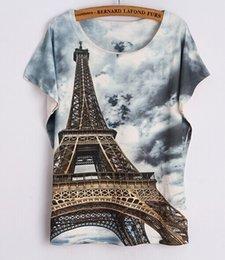 Wholesale Tiger Print Lips - w1209 3D prinit Eiffel Tower mouse Lip print skull tiger Women Tops T Shirt Women