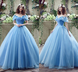 Wholesale Lace Butterfly Wedding Dress - 2018 In Stock ! Princess Colored Wedding Dresses with Butterfly Crystal Spring Ball Gown Off Shoulder Light Sky Blue Cinderella Bridal Gowns