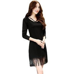 Wholesale Sexy Korean Club Dresses - Sexy Fashion Women Tassel Dress Korean Strap Zipper Hollow O-Neck Long Sleeve Slim Dress Vestido Femininos de Festa Curto Black order<$18no