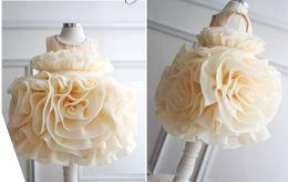 Wholesale Mini Wedding Dresses Free Shipping - Hot Sale Flower Girl Dresses Big Flower Ruffles Sleeveless Beading Organza Cute Flower Girl Dress Free Shipping Cheap High Quality 2015