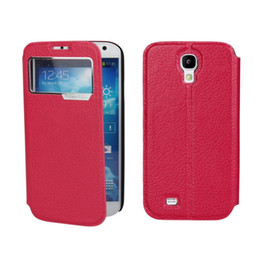 Wholesale Galaxy S4 Windows Case - For Samsung Galaxy S4 i9500 Lichee Window View Genuine Leather Case Cover
