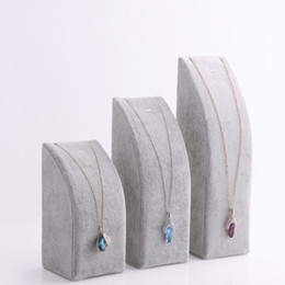 Wholesale Necklace Stand Black Set - Free Shipping Black Gray Velvet Pendant Necklace Chain Display Stand Bracelet Holder 3 pc set Jewelry Packaging Displays