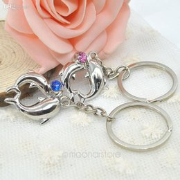 Wholesale Personalized Couple Gifts Alloy - Wholesale-2015 gift dolphins couple key chain key chain personalized Alloy Ring Chain Set for Lovers Metal Free shipping FMHM156#M1