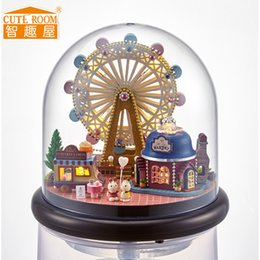 Wholesale Toy Wooden Wheel - Wholesale- CUTE ROOM Happiness Ferris Wheel Handmade Miniature Furniture DIY Doll house Wooden Toys For Child Grownups Birthday Gift B-022
