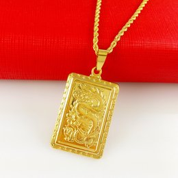 Wholesale Long 24k Gold Filled Chain - 24k gold plated male yellow gold plated dragon pendant necklace ,men 60cm long chain kolye jewelry golden collier