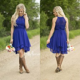Wholesale Modest Wedding Dress Free Shipping - 2018 Modest Royal Blue Short Wedding Dresses Halter Knee Length Ruffled Chiffon Country Style Wedding Dresses Free Shipping