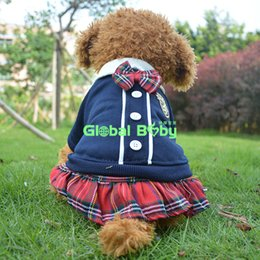 Wholesale Couples Wedding Dress - Adorable Per Dog Lovers Coat Japan and Korea School Style Plaid Pet Dog Couple Jumpsuit Clothes