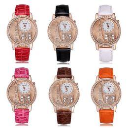 Wholesale Gogoey Quartz - 2015 New fashion luxury brand Women dress Watch Gogoey Emboss Eiffel Tower quartz leather strap watches women rhinestone watches