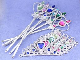 Wholesale Hair Supplies Queens - 10sets lot Children Cosplay Party Supplies Accessories Crown Magic Wand Snow Queen Princess Crown Hair Accessories For Girls A Gift