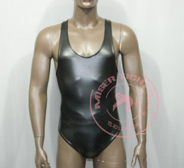 Wholesale Lingerie Free For Men - 2016 hot bdsm Latex sleeveless Sexy Catsuit Costumes Lingerie Suits Club Wear For men Free Shipping bdsm sex toys