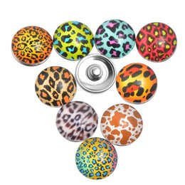 Wholesale Glass Stones Button - 2015 Hot DIY Jewelry Leopard owl birld skull butterfly Printed Glass Stone Buttons Leopard Snap Buttons for Noosa Bracelet